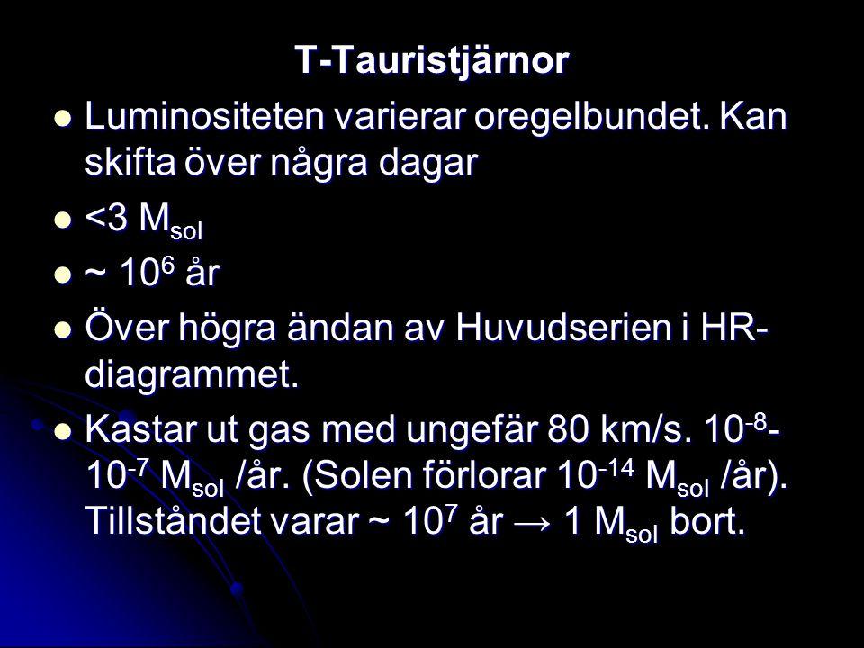 T-Tauristjärnor Luminositeten varierar oregelbundet. Kan skifta över några dagar Luminositeten varierar oregelbundet. Kan skifta över några dagar <3 M