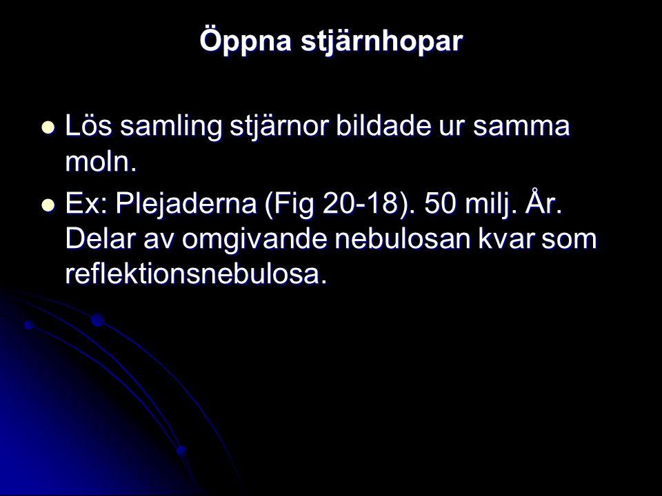 Öppna stjärnhopar Lös samling stjärnor bildade ur samma moln. Lös samling stjärnor bildade ur samma moln. Ex: Plejaderna (Fig 20-18). 50 milj. År. Del