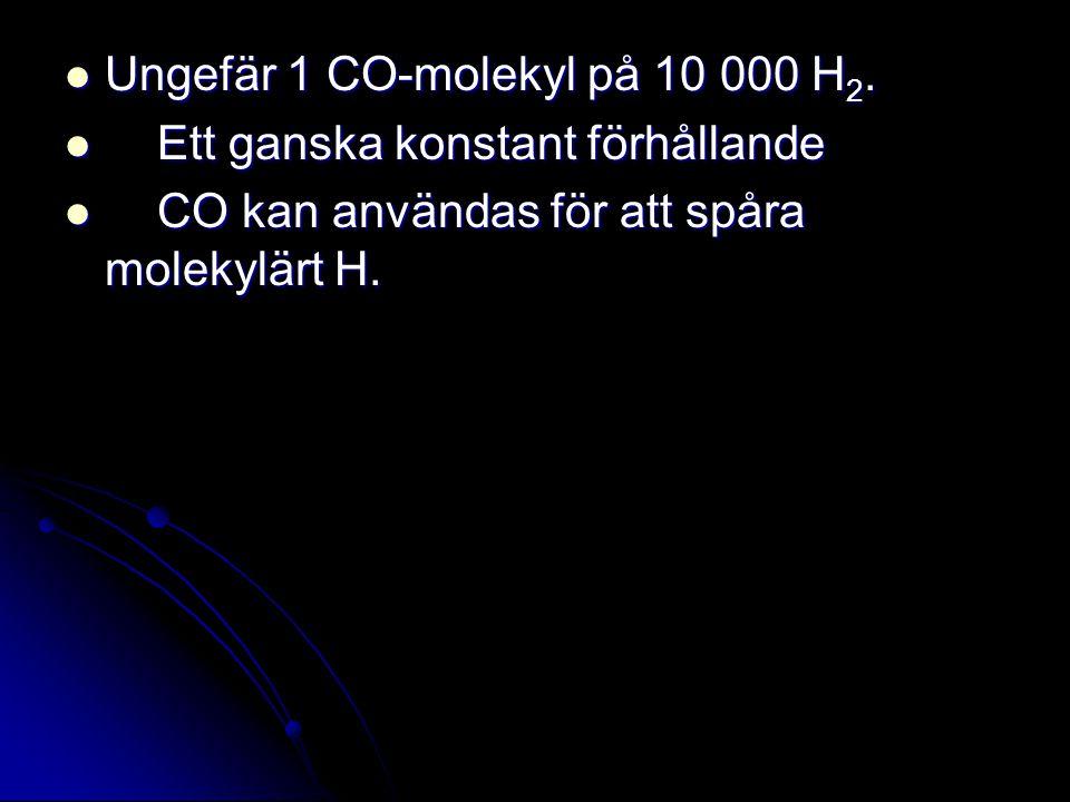 Ungefär 1 CO-molekyl på 10 000 H 2. Ungefär 1 CO-molekyl på 10 000 H 2. Ett ganska konstant förhållande Ett ganska konstant förhållande CO kan använda