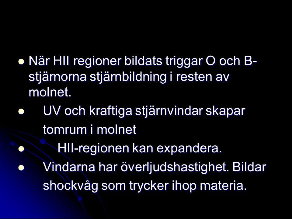 När HII regioner bildats triggar O och B- stjärnorna stjärnbildning i resten av molnet. När HII regioner bildats triggar O och B- stjärnorna stjärnbil