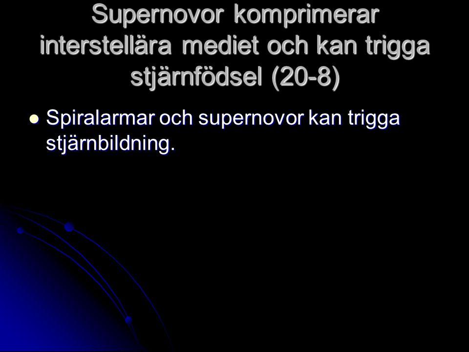 Supernovor komprimerar interstellära mediet och kan trigga stjärnfödsel (20-8) Spiralarmar och supernovor kan trigga stjärnbildning. Spiralarmar och s