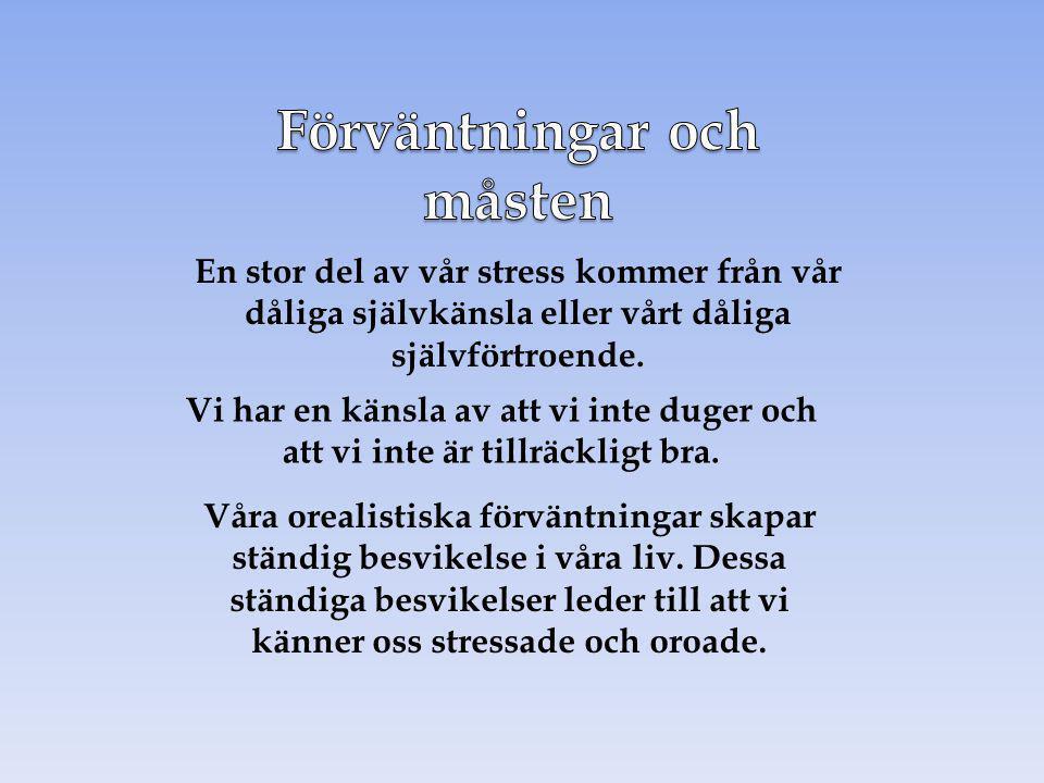 En stor del av vår stress kommer från vår dåliga självkänsla eller vårt dåliga självförtroende. Vi har en känsla av att vi inte duger och att vi inte