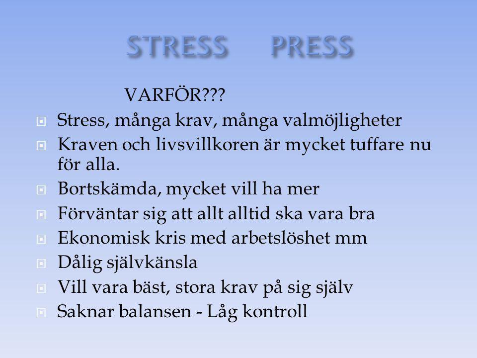 VARFÖR???  Stress, många krav, många valmöjligheter  Kraven och livsvillkoren är mycket tuffare nu för alla.  Bortskämda, mycket vill ha mer  Förv