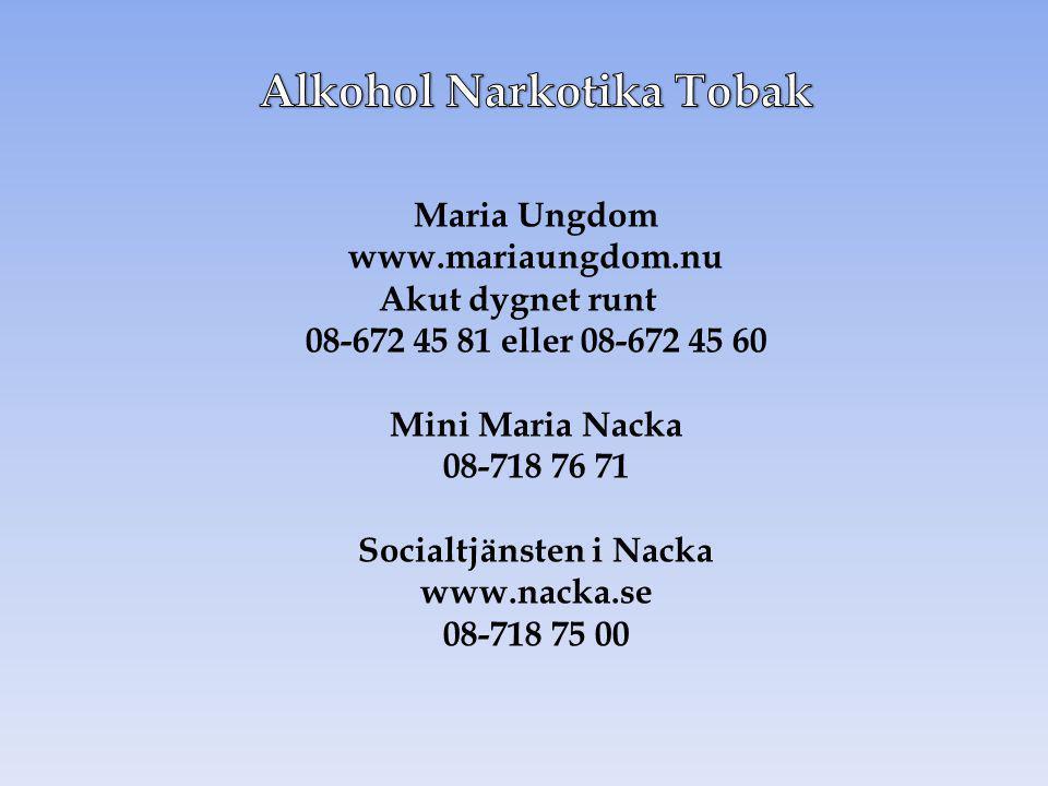 Maria Ungdom www.mariaungdom.nu Akut dygnet runt 08-672 45 81 eller 08-672 45 60 Mini Maria Nacka 08-718 76 71 Socialtjänsten i Nacka www.nacka.se 08-