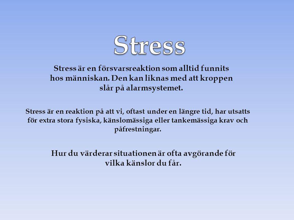 Hur du värderar situationen är ofta avgörande för vilka känslor du får. Stress är en försvarsreaktion som alltid funnits hos människan. Den kan liknas