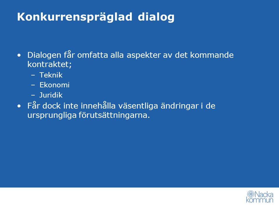 Konkurrenspräglad dialog Dialogen får omfatta alla aspekter av det kommande kontraktet; –Teknik –Ekonomi –Juridik Får dock inte innehålla väsentliga ändringar i de ursprungliga förutsättningarna.