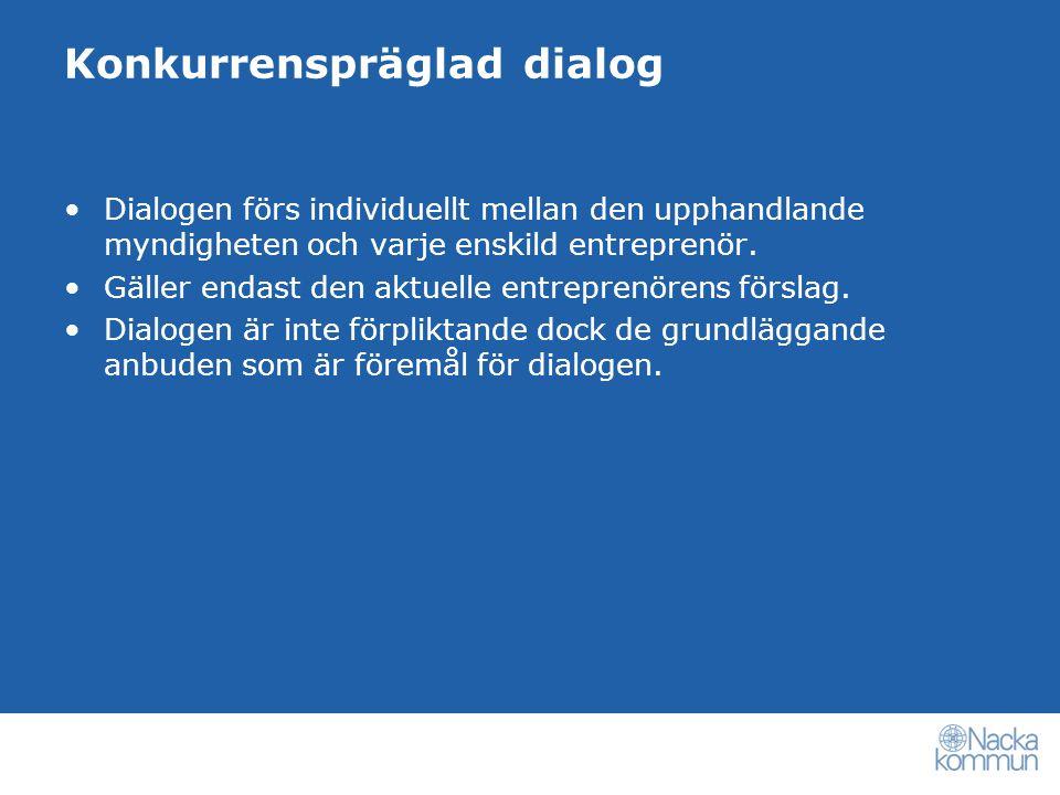 Konkurrenspräglad dialog Lagen reglerar inte hur dialogen ska gå till.