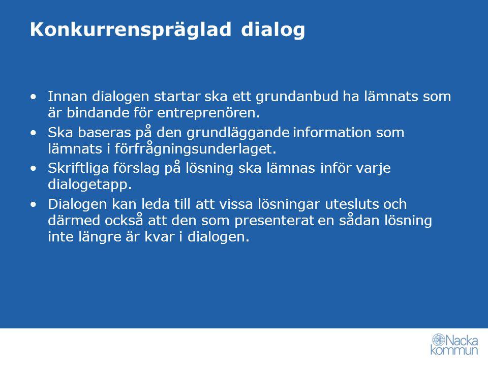 Konkurrenspräglad dialog Innan dialogen startar ska ett grundanbud ha lämnats som är bindande för entreprenören.