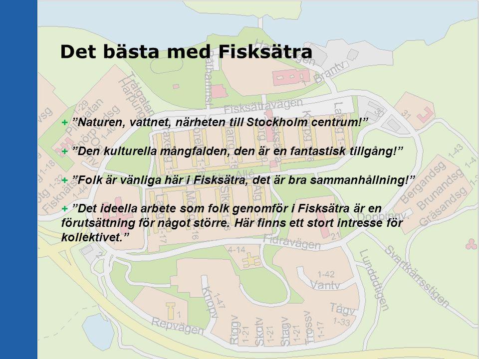 """Det bästa med Fisksätra + """"Naturen, vattnet, närheten till Stockholm centrum!"""" + """"Den kulturella mångfalden, den är en fantastisk tillgång!"""" + """"Folk ä"""