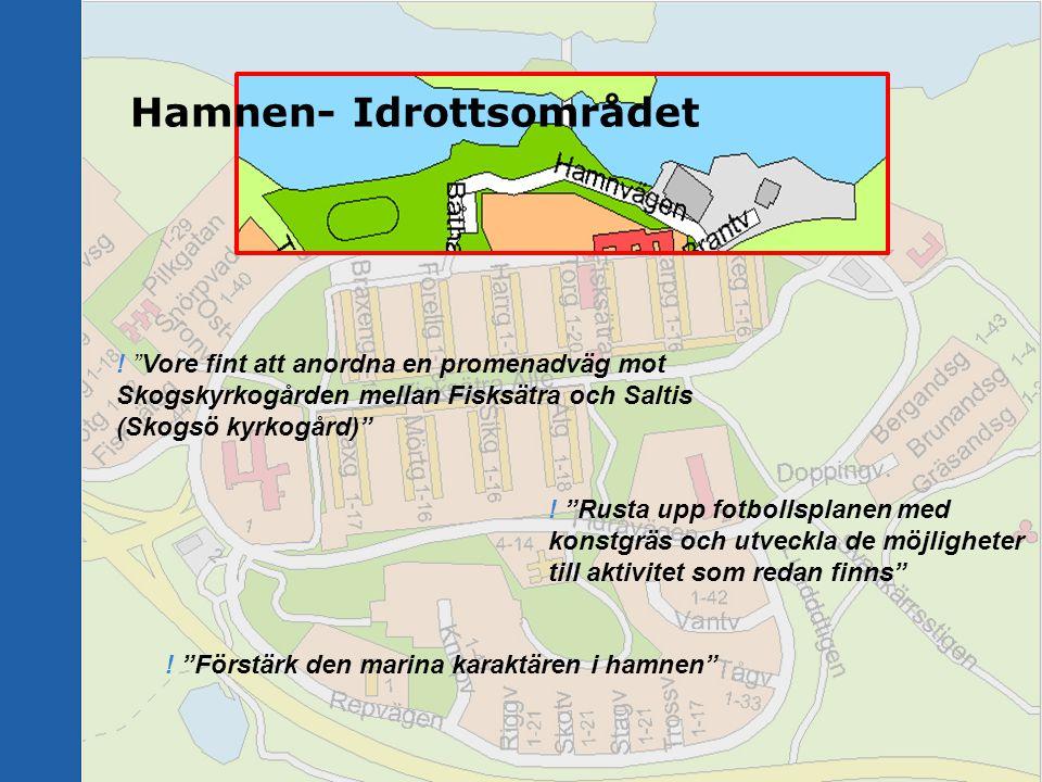 """! """"Förstärk den marina karaktären i hamnen"""" Hamnen- Idrottsområdet ! """"Vore fint att anordna en promenadväg mot Skogskyrkogården mellan Fisksätra och S"""