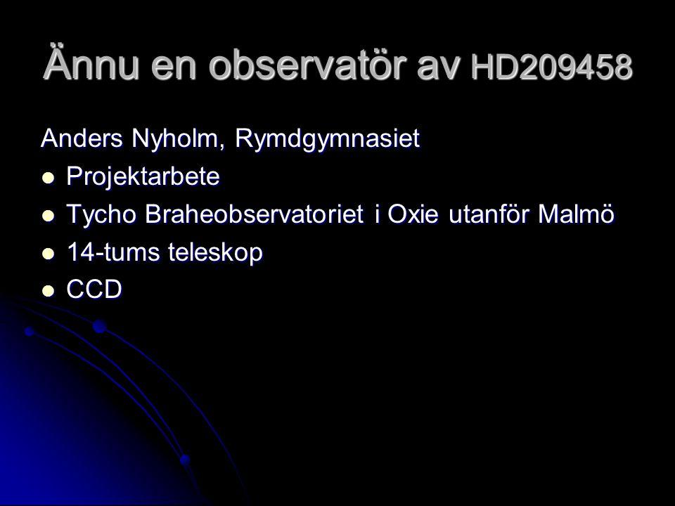Ännu en observatör av HD209458 Anders Nyholm, Rymdgymnasiet Projektarbete Projektarbete Tycho Braheobservatoriet i Oxie utanför Malmö Tycho Braheobservatoriet i Oxie utanför Malmö 14-tums teleskop 14-tums teleskop CCD CCD