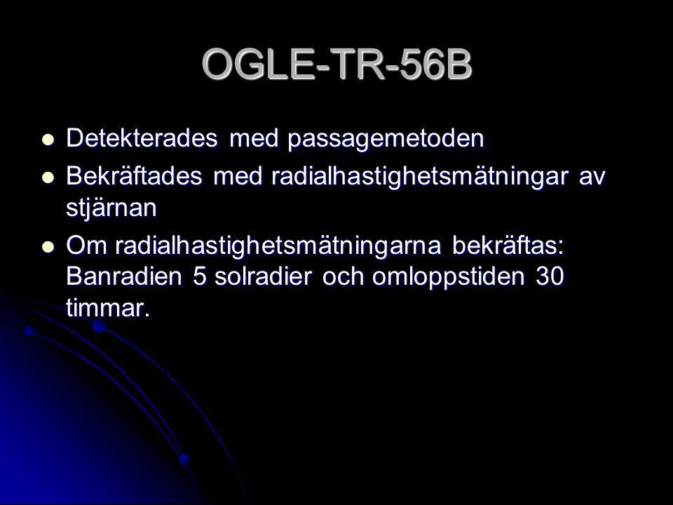 OGLE-TR-56B Detekterades med passagemetoden Detekterades med passagemetoden Bekräftades med radialhastighetsmätningar av stjärnan Bekräftades med radialhastighetsmätningar av stjärnan Om radialhastighetsmätningarna bekräftas: Banradien 5 solradier och omloppstiden 30 timmar.
