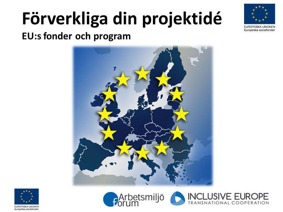 Förverkliga din projektidé EU:s fonder och program