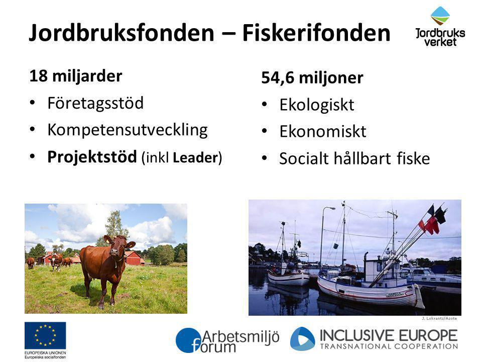 Jordbruksfonden – Fiskerifonden 18 miljarder Företagsstöd Kompetensutveckling Projektstöd (inkl Leader) 54,6 miljoner Ekologiskt Ekonomiskt Socialt hå