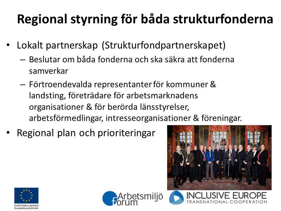 Regional styrning för båda strukturfonderna Lokalt partnerskap (Strukturfondpartnerskapet) – Beslutar om båda fonderna och ska säkra att fonderna samv