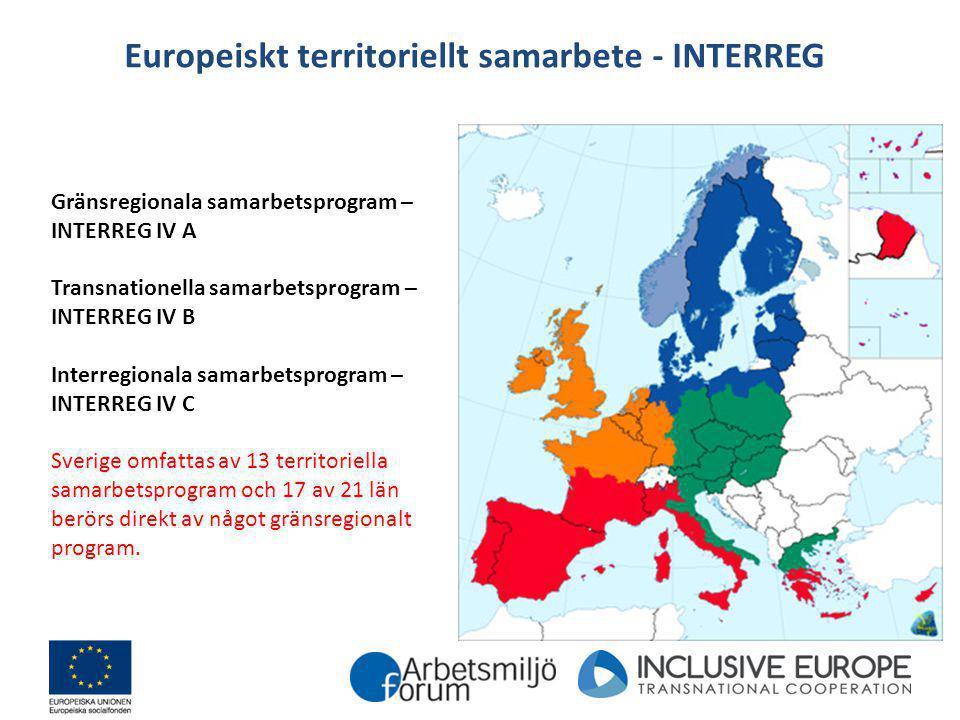 Europeiskt territoriellt samarbete - INTERREG Gränsregionala samarbetsprogram – INTERREG IV A Transnationella samarbetsprogram – INTERREG IV B Interre