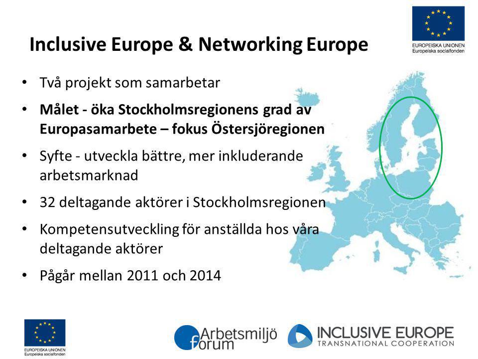 Inclusive Europe & Networking Europe Två projekt som samarbetar Målet - öka Stockholmsregionens grad av Europasamarbete – fokus Östersjöregionen Syfte