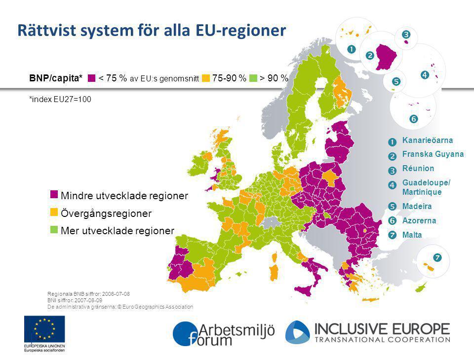 │ 24 Rättvist system för alla EU-regioner < 75 % av EU:s genomsnitt BNP/capita* *index EU27=100 75-90 %> 90 % Mindre utvecklade regioner Övergångsregi