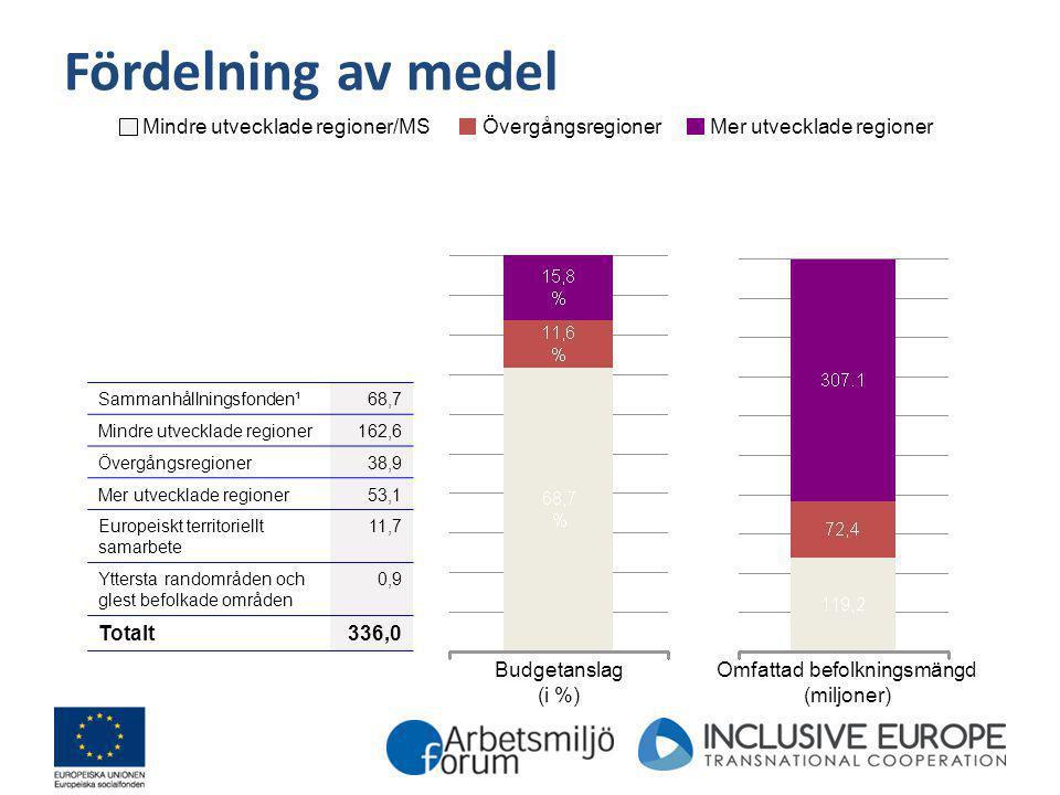 Fördelning av medel Budgetanslag (i %) Omfattad befolkningsmängd (miljoner) Sammanhållningsfonden¹68,7 Mindre utvecklade regioner162,6 Övergångsregion
