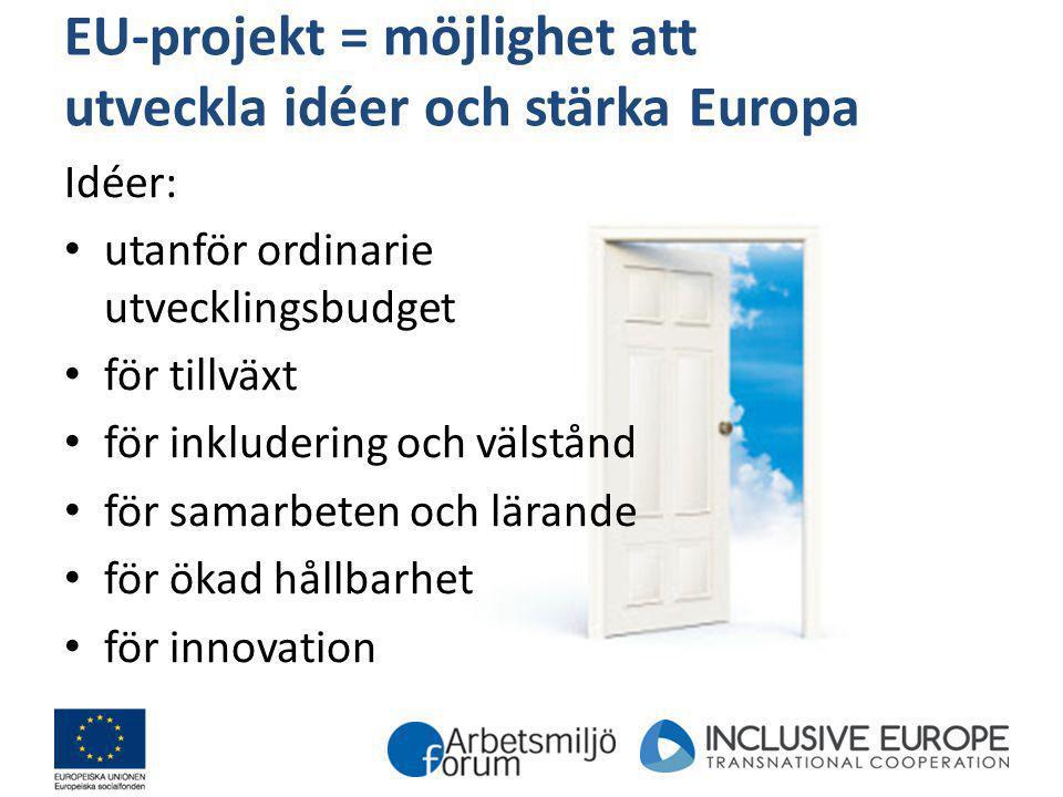 EU-projekt = möjlighet att utveckla idéer och stärka Europa Idéer: utanför ordinarie utvecklingsbudget för tillväxt för inkludering och välstånd för s