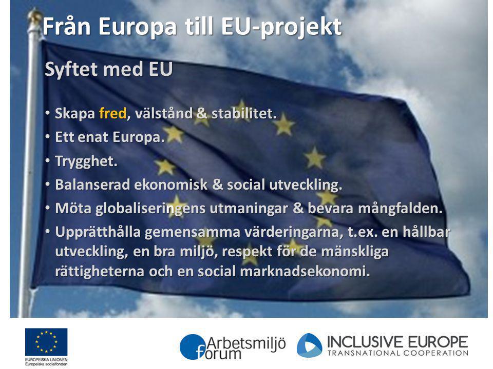 Från Europa till EU-projekt Syftet med EU Skapa fred, välstånd & stabilitet. Skapa fred, välstånd & stabilitet. Ett enat Europa. Ett enat Europa. Tryg