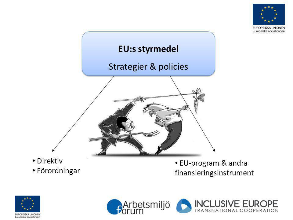 EU:s styrmedel Strategier & policies EU:s styrmedel Strategier & policies EU-program & andra finansieringsinstrument Direktiv Förordningar