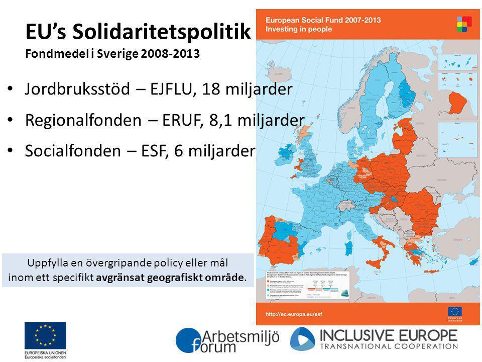 EU's Solidaritetspolitik Fondmedel i Sverige 2008-2013 Jordbruksstöd – EJFLU, 18 miljarder Regionalfonden – ERUF, 8,1 miljarder Socialfonden – ESF, 6