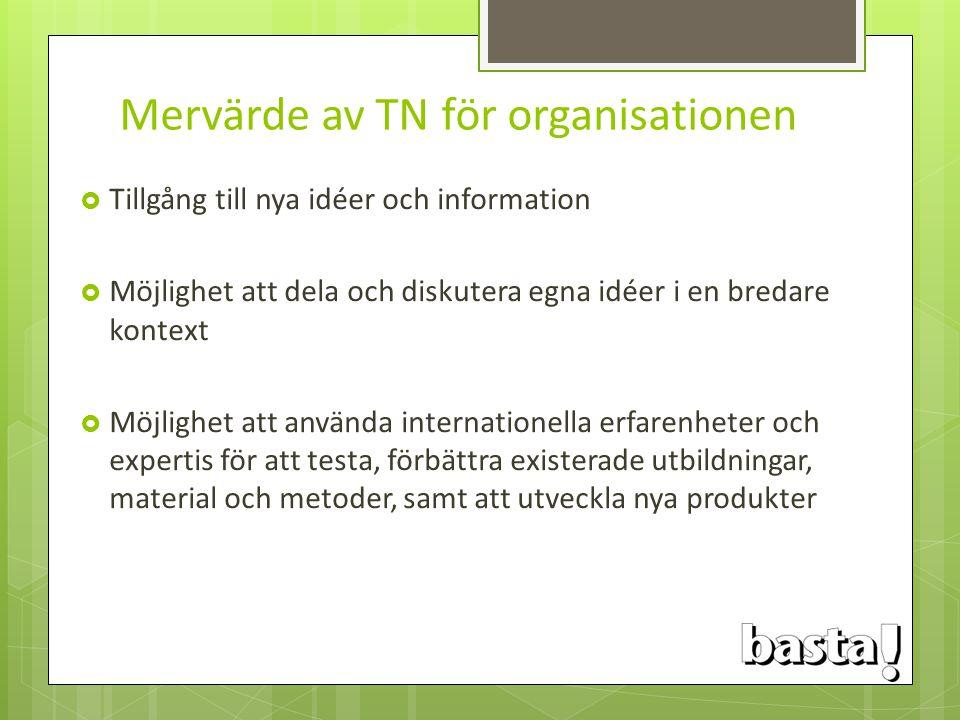 Mervärde av TN för organisationen  Tillgång till nya idéer och information  Möjlighet att dela och diskutera egna idéer i en bredare kontext  Möjli