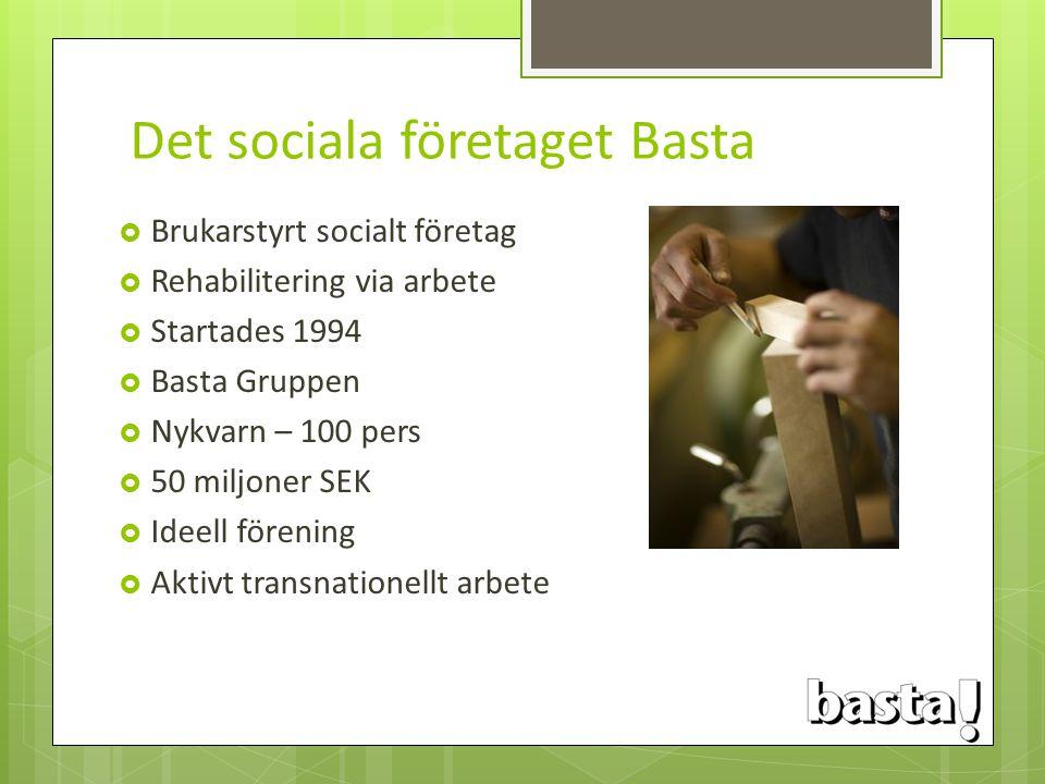 Det sociala företaget Basta  Brukarstyrt socialt företag  Rehabilitering via arbete  Startades 1994  Basta Gruppen  Nykvarn – 100 pers  50 miljo