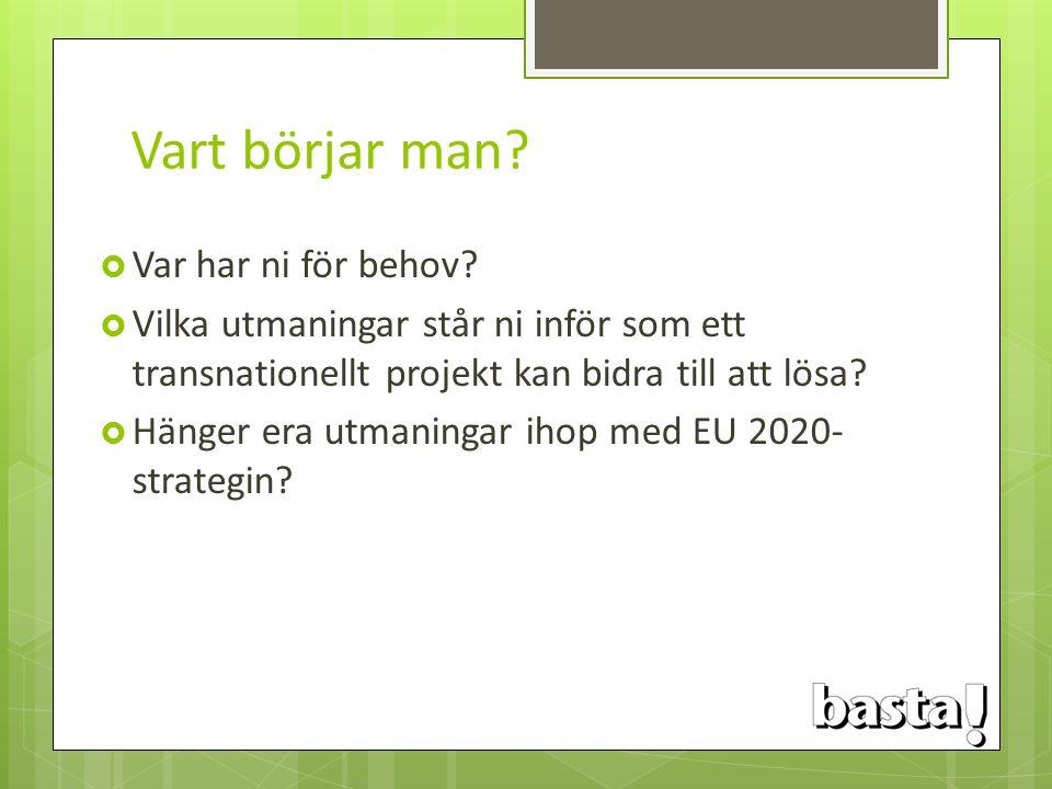 Vart börjar man?  Var har ni för behov?  Vilka utmaningar står ni inför som ett transnationellt projekt kan bidra till att lösa?  Hänger era utmani