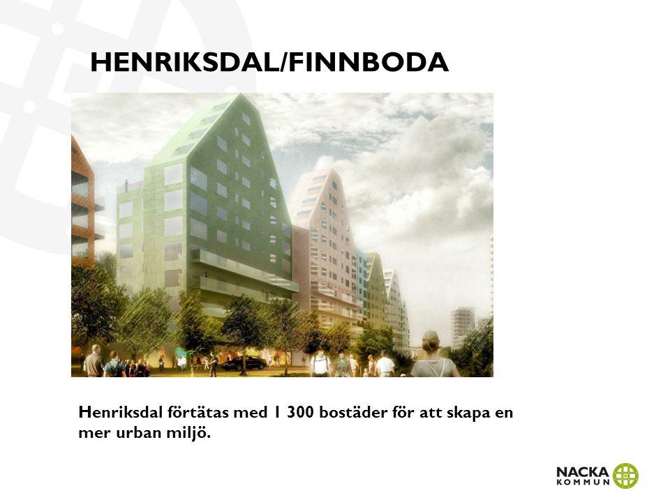 HENRIKSDAL/FINNBODA Henriksdal förtätas med 1 300 bostäder för att skapa en mer urban miljö.