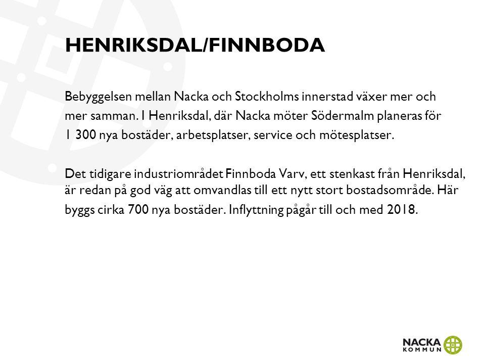 HENRIKSDAL/FINNBODA Bebyggelsen mellan Nacka och Stockholms innerstad växer mer och mer samman. I Henriksdal, där Nacka möter Södermalm planeras för 1