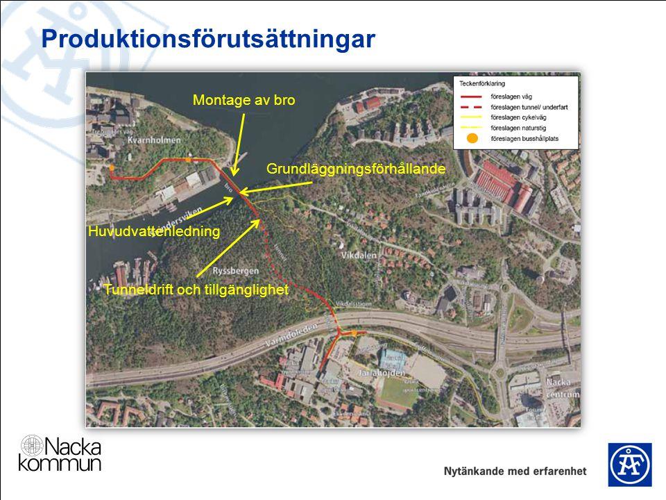 Produktionsförutsättningar Montage av bro Grundläggningsförhållande Tunneldrift och tillgänglighet Huvudvattenledning