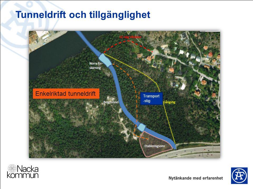 Tunneldrift och tillgänglighet Transport -stig Enkelriktad tunneldrift