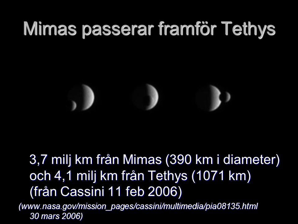 Mimas passerar framför Tethys 3,7 milj km från Mimas (390 km i diameter) och 4,1 milj km från Tethys (1071 km) (från Cassini 11 feb 2006) 3,7 milj km