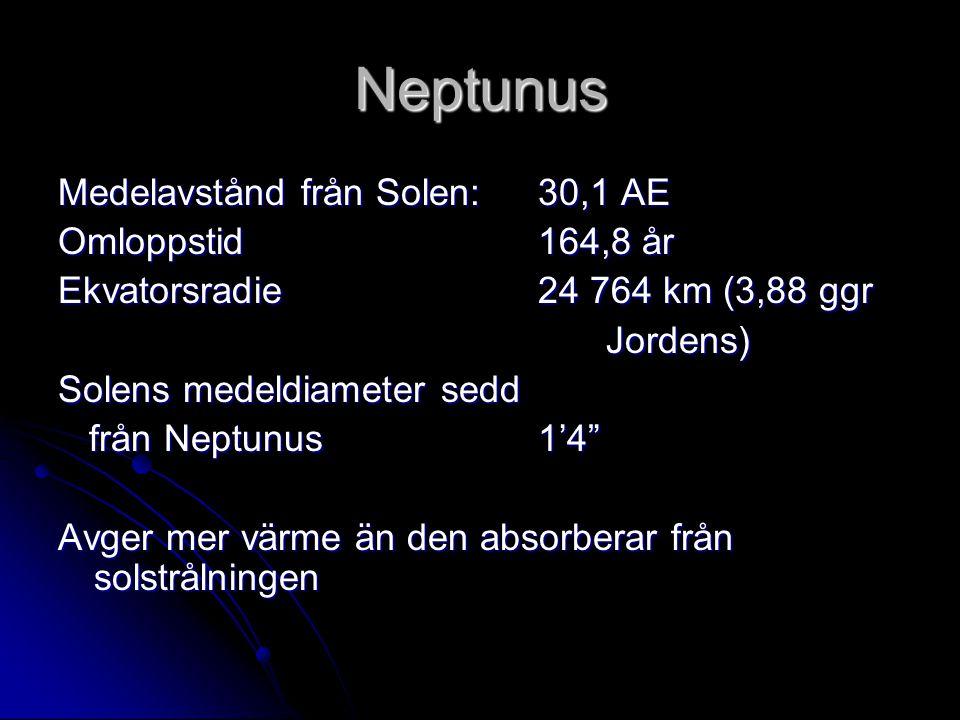 Neptunus Medelavstånd från Solen: 30,1 AE Omloppstid 164,8 år Ekvatorsradie 24 764 km (3,88 ggr Jordens) Jordens) Solens medeldiameter sedd från Neptu