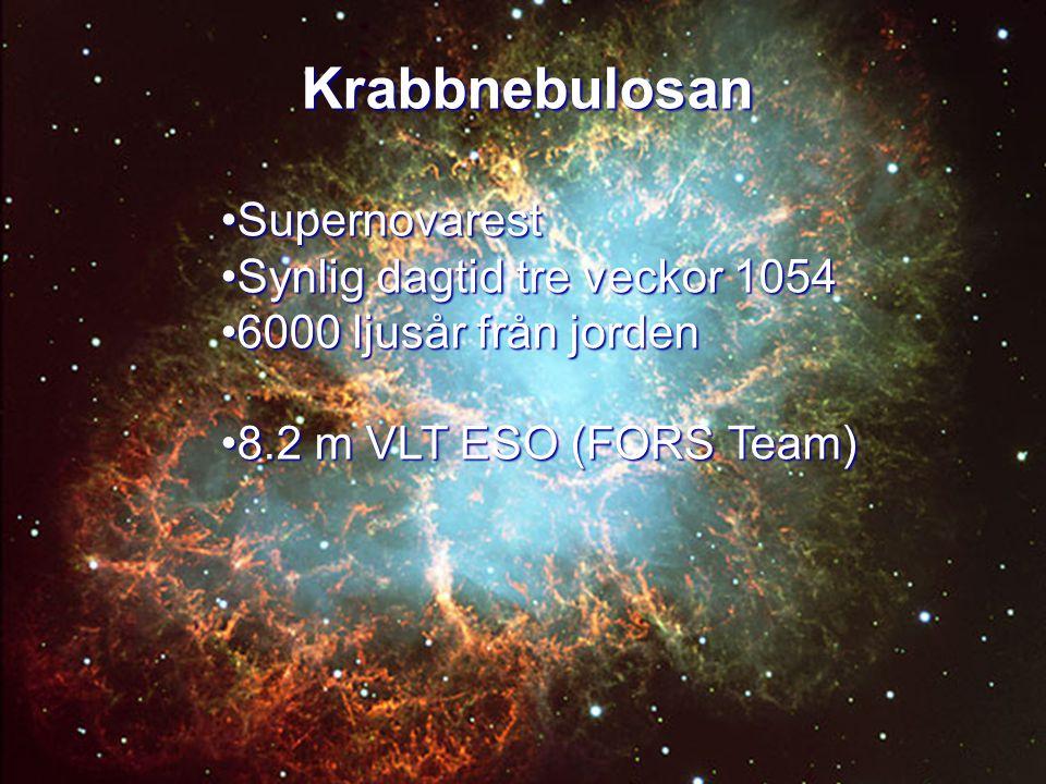 Krabbnebulosan Krabbnebulosan SupernovarestSupernovarest Synlig dagtid tre veckor 1054Synlig dagtid tre veckor 1054 6000 ljusår från jorden6000 ljusår