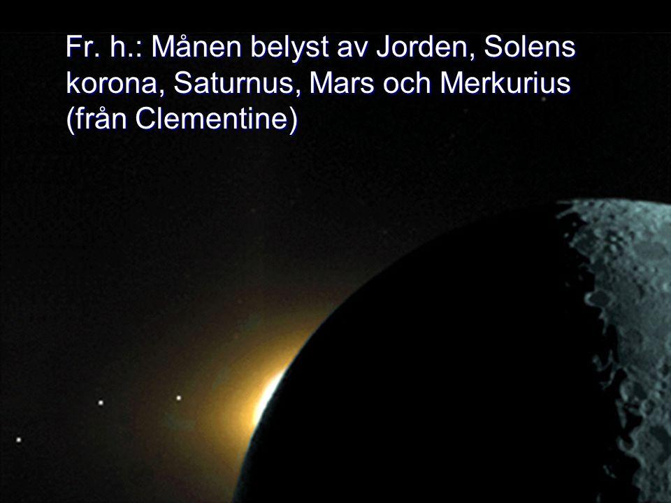 Fr. h.: Månen belyst av Jorden, Solens korona, Saturnus, Mars och Merkurius (från Clementine) Fr. h.: Månen belyst av Jorden, Solens korona, Saturnus,