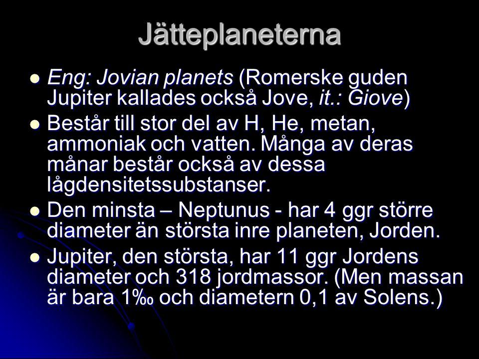 Jätteplaneterna Eng: Jovian planets (Romerske guden Jupiter kallades också Jove, it.: Giove) Eng: Jovian planets (Romerske guden Jupiter kallades ocks