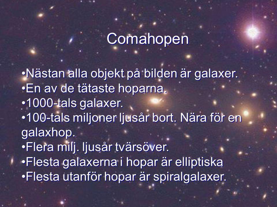 Andromedagalaxen Andromedagalaxen Närmaste stora granngalaxenNärmaste stora granngalaxen Mycket lik VintergatanMycket lik Vintergatan Innehåller hundratals miljarder stjärnorInnehåller hundratals miljarder stjärnor Ljusa stjärnorna är förgrundsstjärnor i VintergatanLjusa stjärnorna är förgrundsstjärnor i Vintergatan 2 miljoner ljusår bort2 miljoner ljusår bort