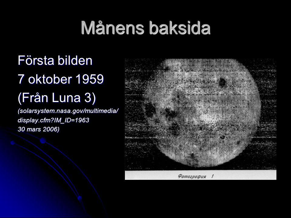 Månens baksida Första bilden 7 oktober 1959 (Från Luna 3) (solarsystem.nasa.gov/multimedia/display.cfm?IM_ID=1963 30 mars 2006)