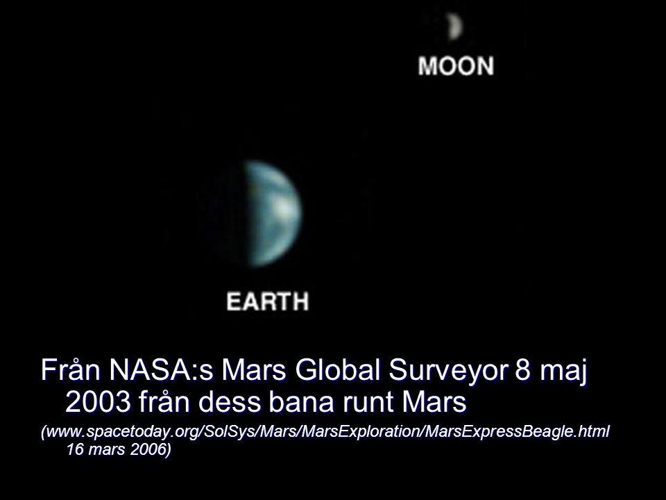 Från NASA:s Mars Global Surveyor 8 maj 2003 från dess bana runt Mars (www.spacetoday.org/SolSys/Mars/MarsExploration/MarsExpressBeagle.html 16 mars 20