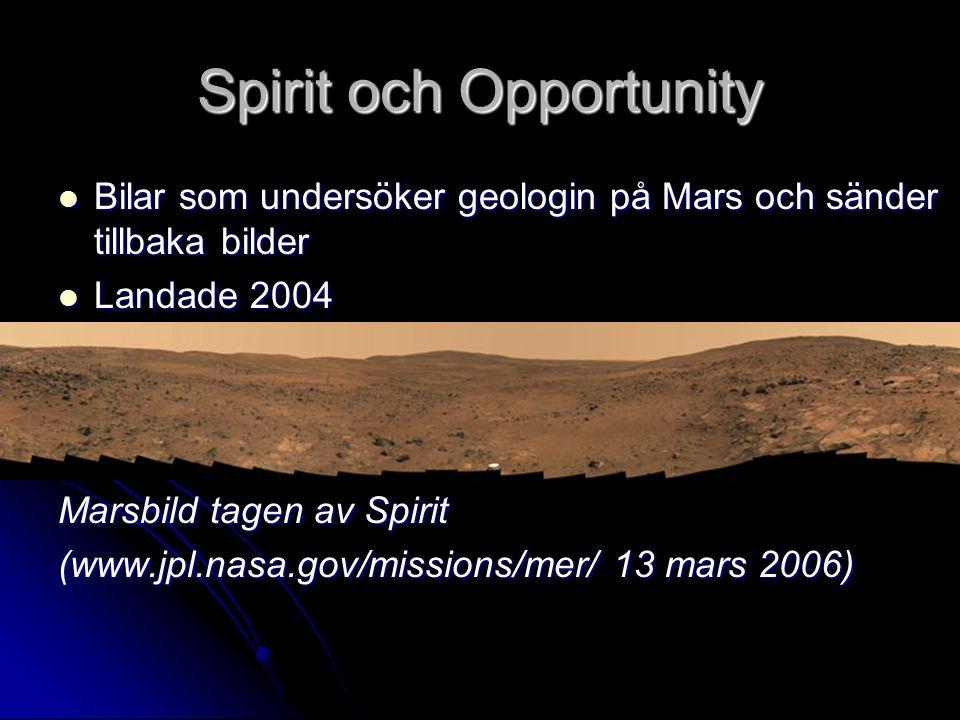Spirit och Opportunity Bilar som undersöker geologin på Mars och sänder tillbaka bilder Bilar som undersöker geologin på Mars och sänder tillbaka bild