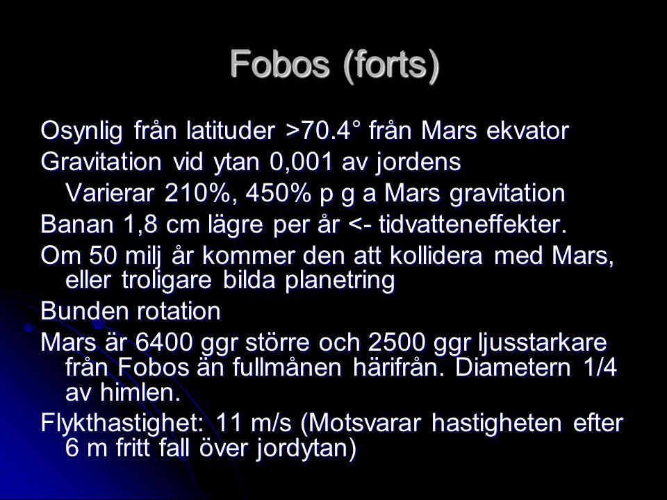 Fobos (forts) Osynlig från latituder >70.4° från Mars ekvator Gravitation vid ytan 0,001 av jordens Varierar 210%, 450% p g a Mars gravitation Banan 1