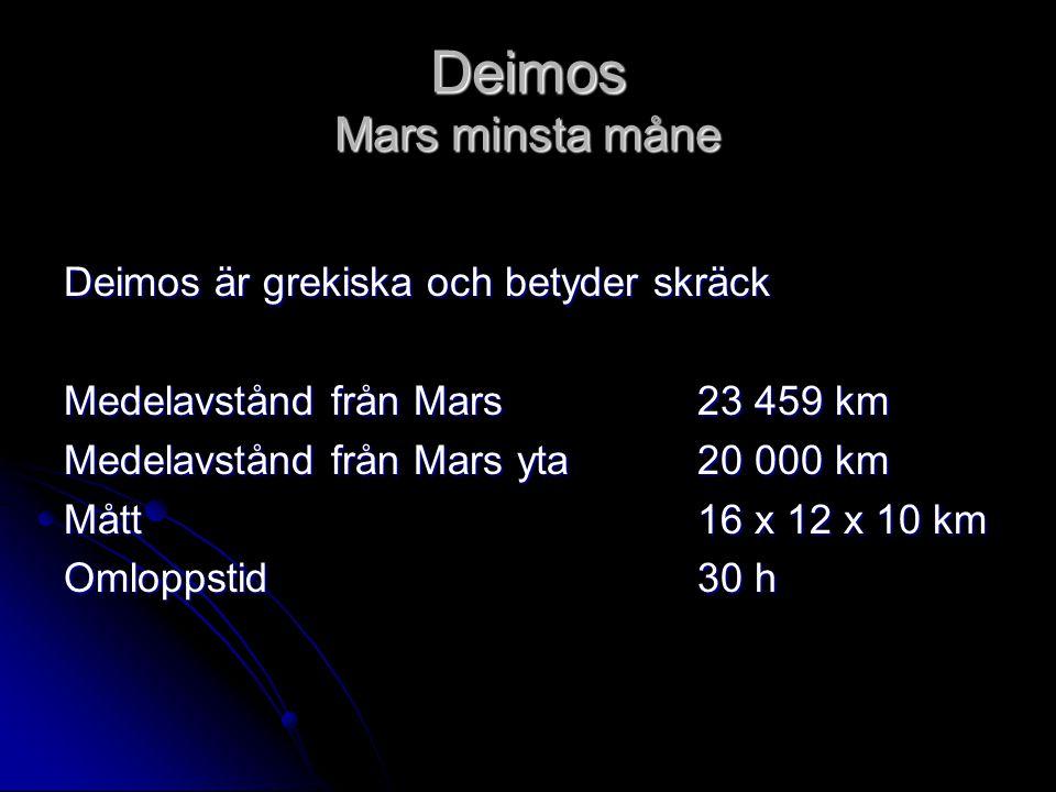 Deimos Mars minsta måne Deimos är grekiska och betyder skräck Medelavstånd från Mars23 459 km Medelavstånd från Mars yta20 000 km Mått 16 x 12 x 10 km