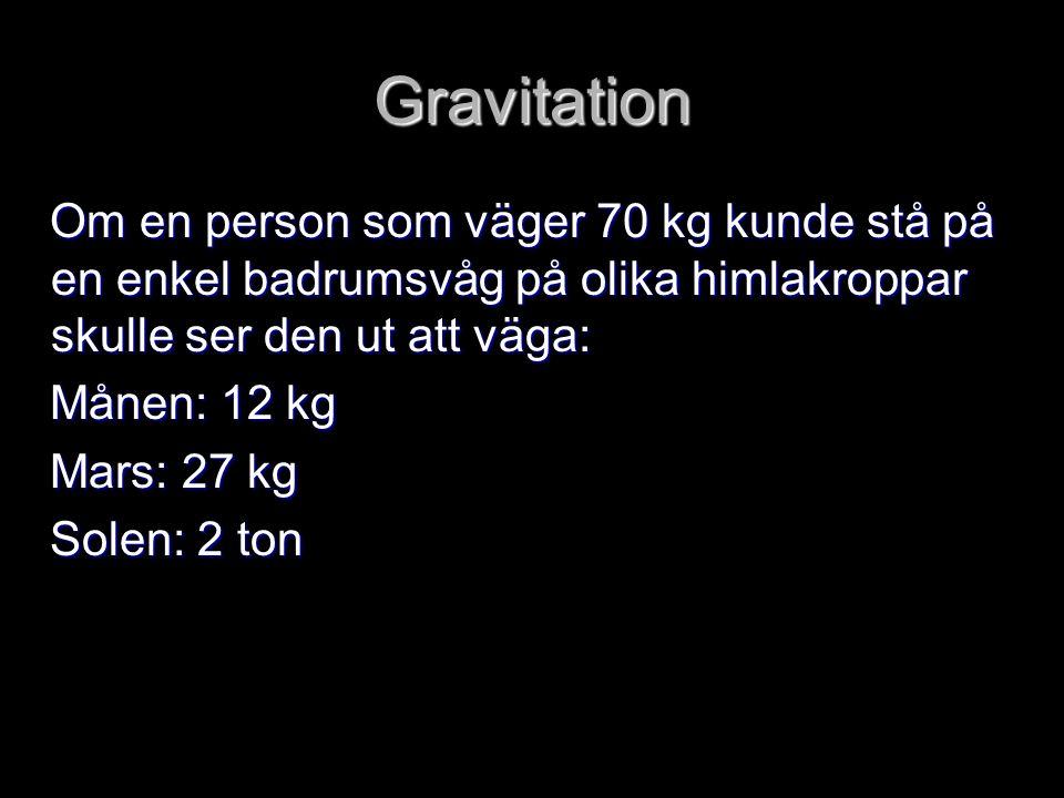 Gravitation Om en person som väger 70 kg kunde stå på en enkel badrumsvåg på olika himlakroppar skulle ser den ut att väga: Om en person som väger 70