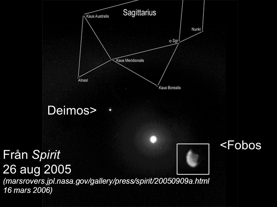 <Fobos Deimos> Från Spirit 26 aug 2005 (marsrovers.jpl.nasa.gov/gallery/press/spirit/20050909a.html 16 mars 2006)