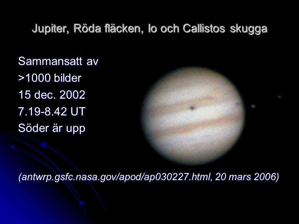 Jupiter, Röda fläcken, Io och Callistos skugga Sammansatt av >1000 bilder 15 dec. 2002 7.19-8.42 UT Söder är upp (antwrp.gsfc.nasa.gov/apod/ap030227.h