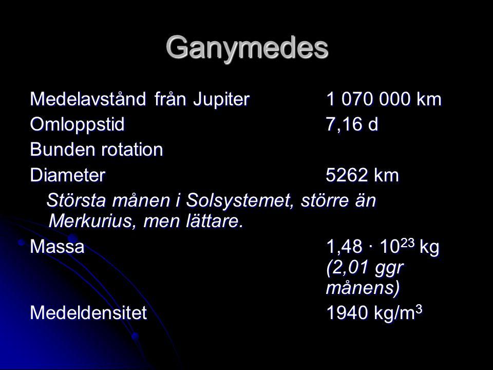 Ganymedes Medelavstånd från Jupiter1 070 000 km Omloppstid7,16 d Bunden rotation Diameter5262 km Största månen i Solsystemet, större än Merkurius, men