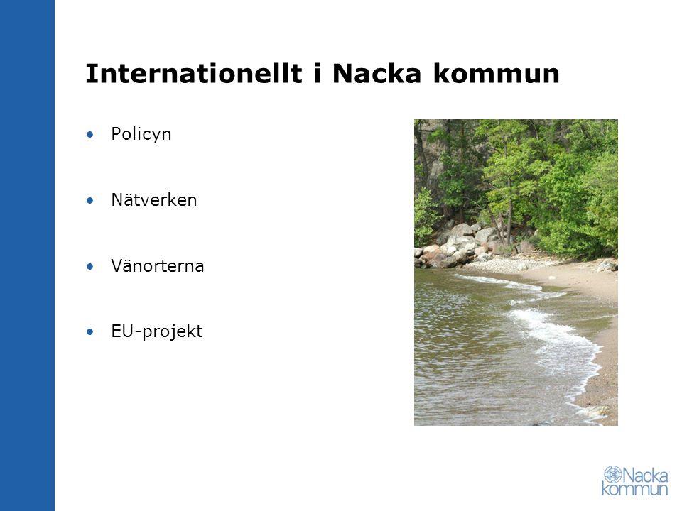 Internationellt i Nacka kommun Policyn Nätverken Vänorterna EU-projekt
